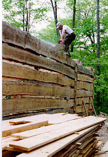 Photo: Notching in the floor beams, standing on a slippery log with a chainsaw. Safety always comes first!