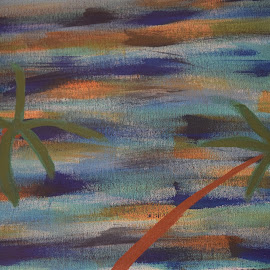 Hurricane in Florida by Keith Heinly - Painting All Painting ( wind, palm  tree, colors, florida, hurricane )