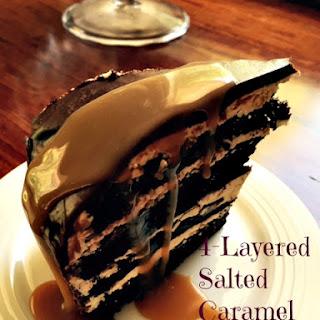 Layered Salted Caramel Chocolate Cake.