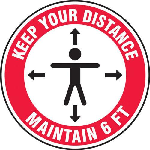 Social Distance Floor Signs, Keep Your Distance Maintain 6 FT w/ Person and  Arrow Icons