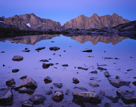"""Photo: Dawn reflection of <a href=""""photo.php?id=757&gallery=sanjuans"""">Mount Eolus</a> in a high lake in the <a href=""""search.php?q=needle%20mountains"""">Needle Mountains</a>, San Juan Mountains - September"""