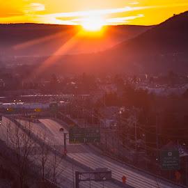 Morning has broken. by Art Tilts - City,  Street & Park  Vistas ( sunrise, mountains, golden hour, valley fog, vehicles, highway, rays, sun, binghamton. )