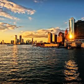 NYC by Nick Remick - City,  Street & Park  Vistas ( #newyork #nyc #water #sun #sunlight #reflection )
