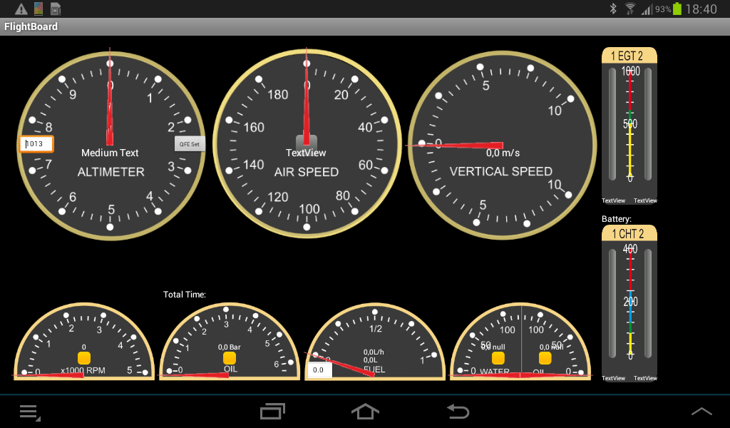 Aircraft instrument panel- screenshot