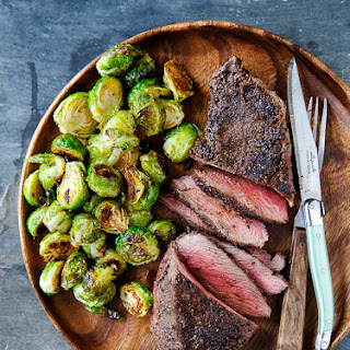 Cowboy Steaks Oven Roasted Brussels Sprouts.