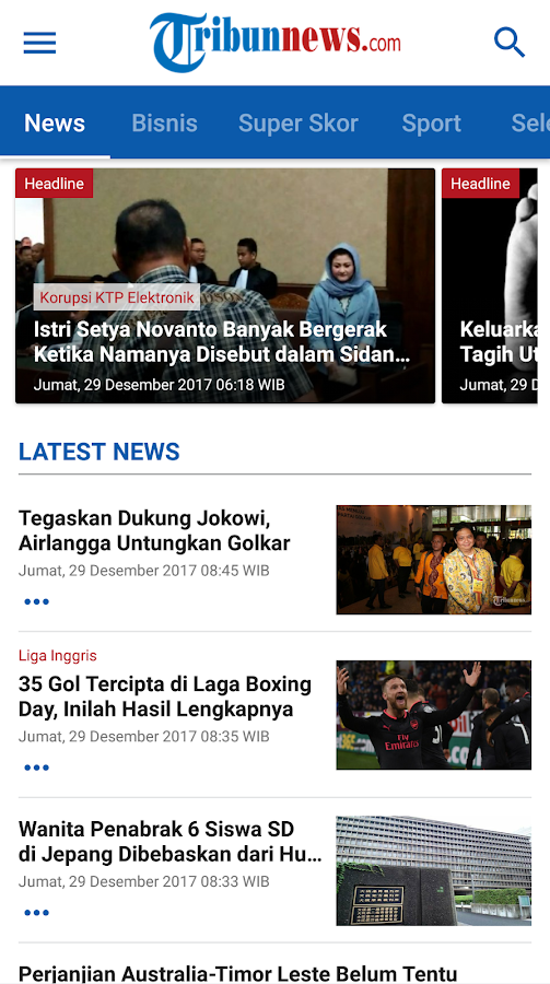 TRIBUNnews- screenshot