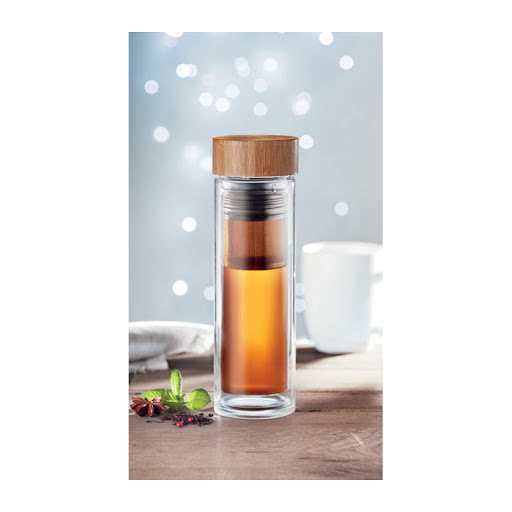 Promotional Glass Infuser Flask with Bamboo Lid
