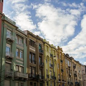 colors of Lisbon by Paulo Rodrigues - Buildings & Architecture Architectural Detail ( clouds, photo/foto, urban, bairro azul, cidade, céu, sky, konika28mm, street, sonya6000, local, portugal, lisboa, nuvens, city )
