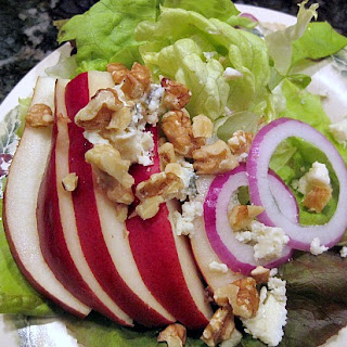 Pear, Walnut, Maytag Blue Cheese Salad with Cranberry Vinaigrette
