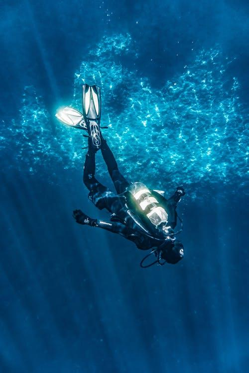 Person Diving On Blue Water