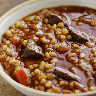 Crock Pot Beef, Vegetable, and Barley Soup.