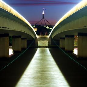 Commonwealth Avenue bridge night by Michael Miller - Buildings & Architecture Bridges & Suspended Structures