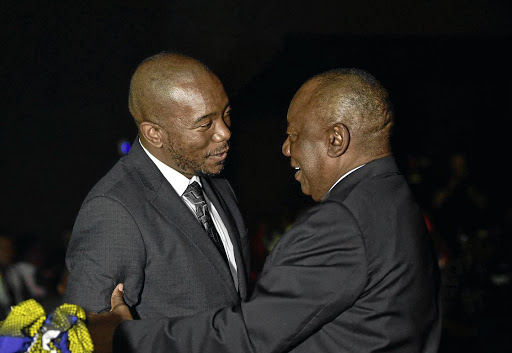Shared future: President Cyril Ramaphosa meets DA leader Mmusi Maimane at a function in Kyalami last night. Picture: GCIS