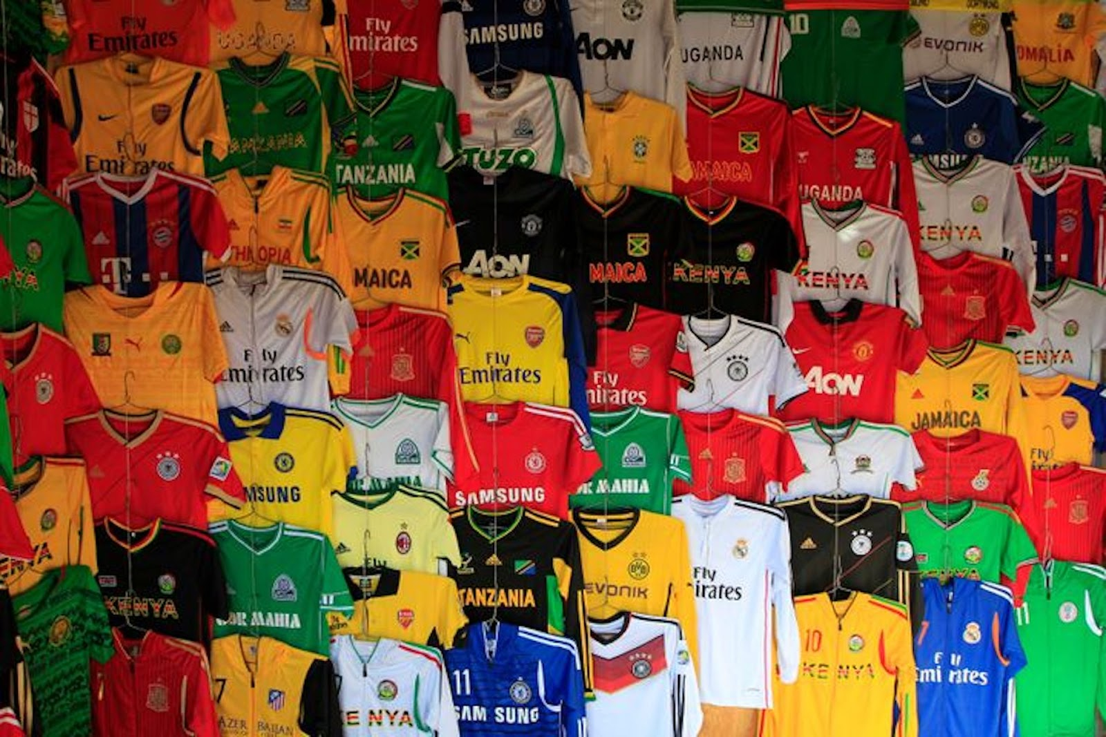 used soccer jersey display