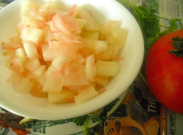 Now add the chopped watermelon rind and fry for few mins.