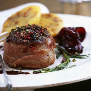 Peppery Venison Steaks with Shallots.