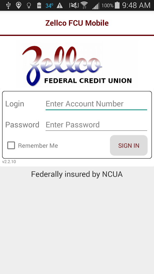 Zellco FCU Mobile Banking- screenshot