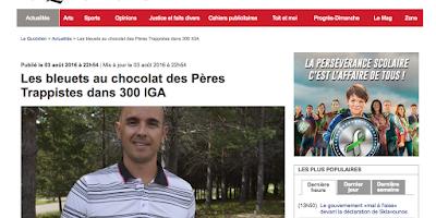Les bleuets au chocolat des Pères Trappistes dans 300 IGA Le Quotidien