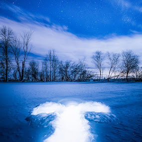 Snow Angel by Derek Kind - Abstract Light Painting ( angel, light painting, flashlight, snow angel, stars, snow, night )