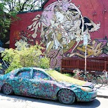 the famous garden car in Kensington Market, Toronto in Toronto, Ontario, Canada