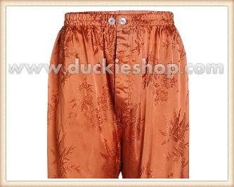 กางเกงใส่นอน ชุดนอนผู้ชายขายาวใส่สบาย ผ้าแพรจีนแท้ กางเกงแพรแท้ กางเกงแพรจีน เอวยางสีน้ำตาลอิฐ