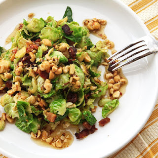 Warm Brussels Sprout Salad with Bacon and Hazelnut Vinaigrette Recipe