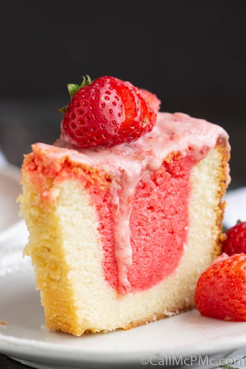 Strawberry & Cream Pound Cake with Jello