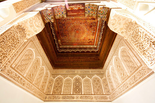 Inside Bahia Palace, built in the late 1800s, in Marrakesh, Morocco.