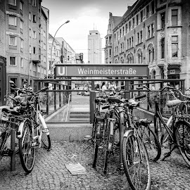 Berlin by Davor Čulina - Black & White Buildings & Architecture ( bicycles, black and white, buildings, architectural, underground )