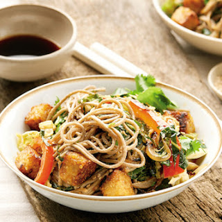 Sesame Soba Noodles with Collard Greens and Tempeh Croutons.