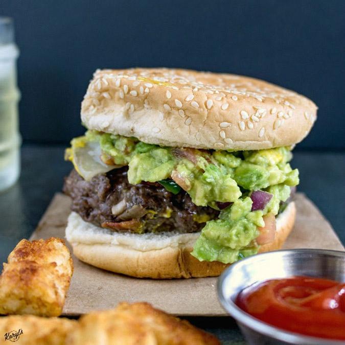 Venison Cheeseburger with Jalapeno and Guacamole Recipe