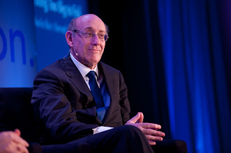 """Photo: Kenneth Feinberg reacts during the """"Financial Regulation: Fixing Too Big to Fail"""" panel discussion Friday, Nov. 16, 2012 at the RAND Politics Aside event in Santa Monica, Calif."""