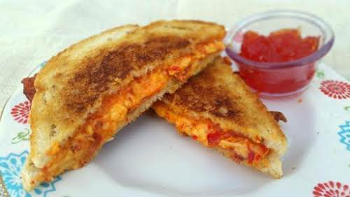 """Grilled Pimento Cheese & Bacon with Pepper Jelly """"After one bite of..."""