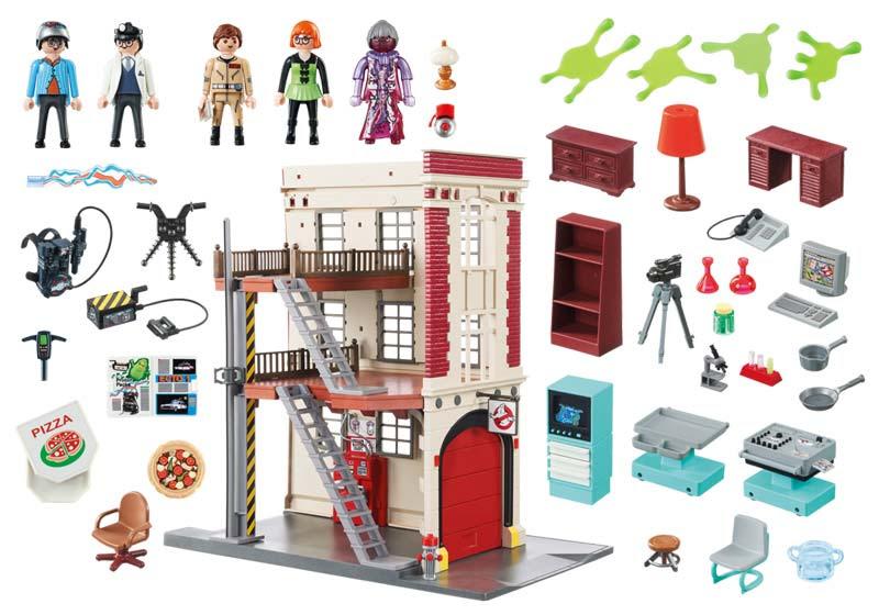 Contenido Real de Playmobil® 9219 Cuartel Parque de Bomberos Ghostbusters