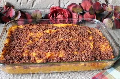 "Bacon and Brown Sugar Topped Sweet Potato Bake""This savory sweet potato casserole..."