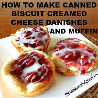 HOW TO MAKE CANNED BISCUIT CREAMED CHEESE DANISHES AND MUFFINS.