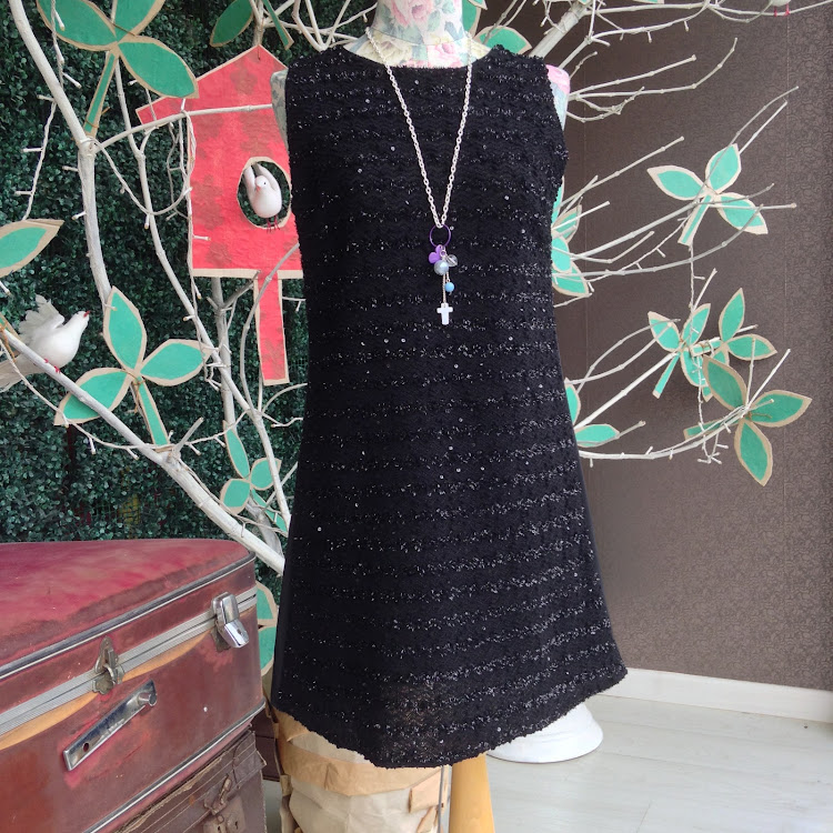 Sleeveless Fitted Black Dress with Frills by Le Tea Boutique