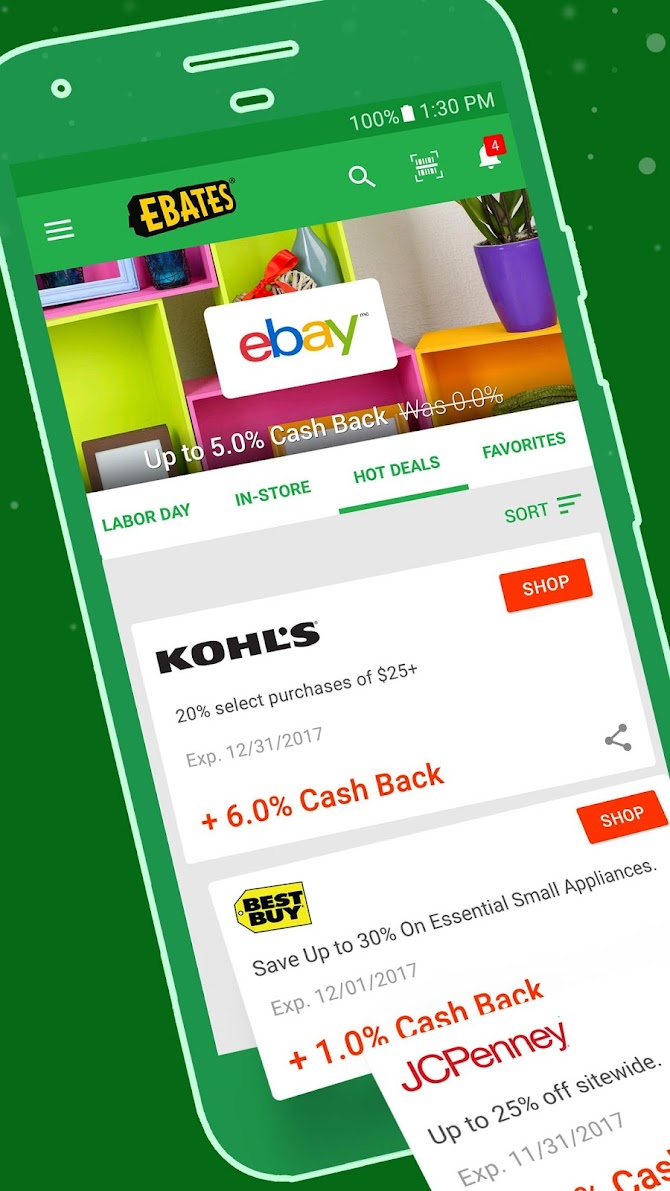 Ebates: Cash Back Rewards, Coupons & Promo Codes Android 1