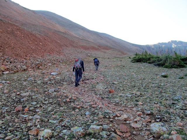 A slightly steep, rocky climb