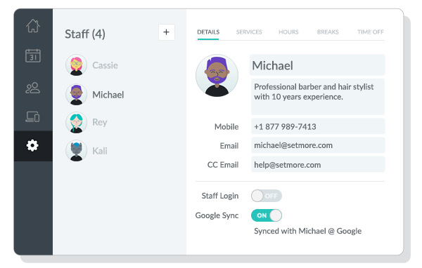 Each team member has their own staff profile, which allows you to control their availability by setting up working hours, breaks, and time off.