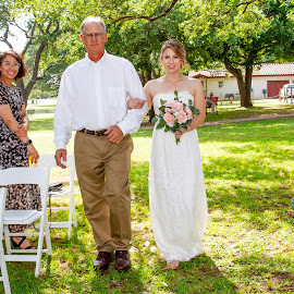Bride and Father Walking by Matthew Chambers - Wedding Ceremony ( bride, bride father ceremony aisle walking dress bouquet, bride father ceremony aisle walking, bride father ceremony aisle walking dress, bride father, bride father ceremony, bride father ceremony aisle )