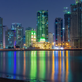 Cooler Nights by Ansari Joshi - Buildings & Architecture Other Exteriors ( insharjah, waterscape, nightscape, sharjah, long exposure, landscape,  )