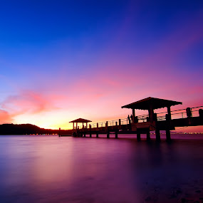 red blue jetty pulau aman by G-en Are Lock Stuck - Landscapes Sunsets & Sunrises ( , silhouette, golden hour, sunset, sunrise )