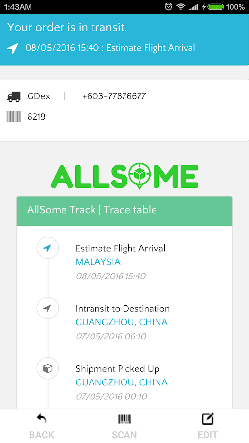 AllSome Parcel Track & Notify- screenshot