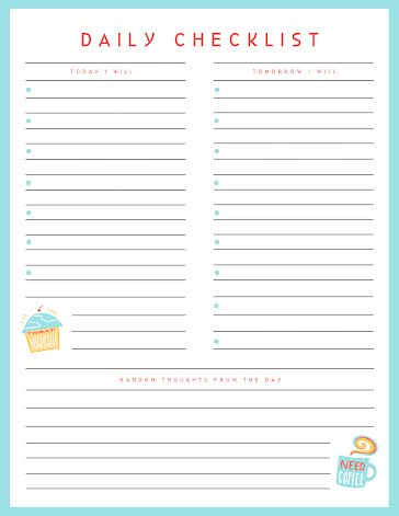 Daily Checklist Treats - Planner template