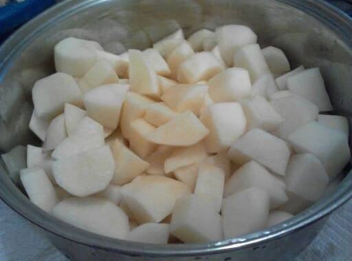 Peel and cut potatoes into 1 1/2-2 inch pieces, rinse and place in medium...