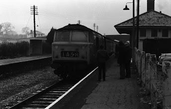 Photo: An up train arriving at Charlbury (Dec 1972)
