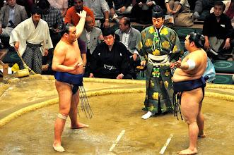 Photo: Chiri-o-kiru - part of the ceremony before each match.