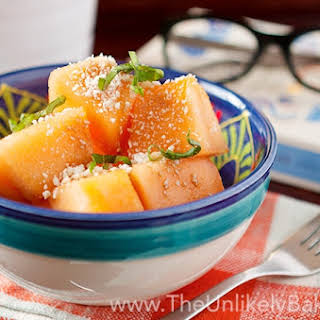 Cantaloupe Feta Cheese Salad with Fresh Basil.