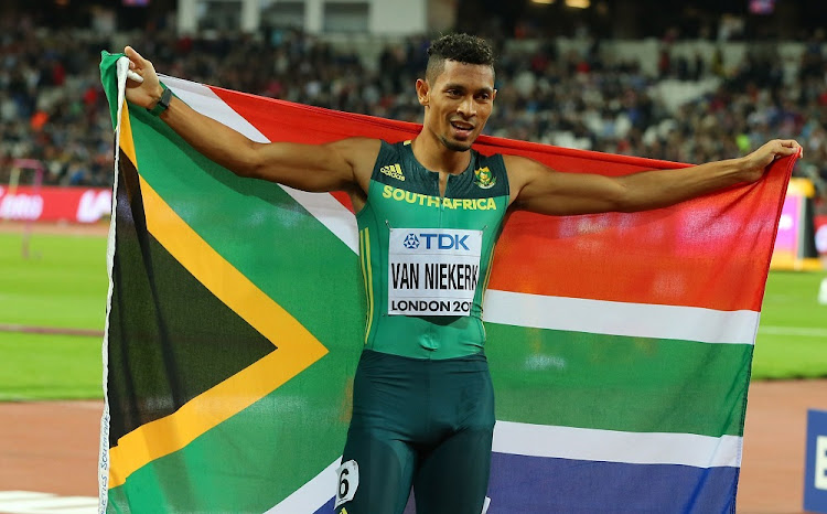 Wayde van Niekerk celebrates winning the 400m final at the 16th IAAF World Athletics Championships 2017 in London, England, on Tuesday. Picture: GALLO IMAGES